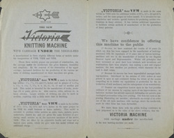 Advert For James Foster's Victoria Knitting Machine reverse